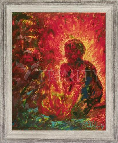 Wall Frame Silver Flat - Tending The Fire by B. Gilroy