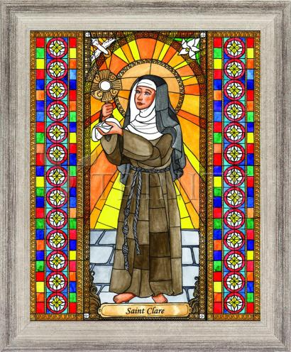 Wall Frame Silver Flat - St. Clare of Assisi by B. Nippert