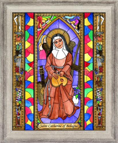 Wall Frame Silver Flat - St. Catherine of Bologna by B. Nippert