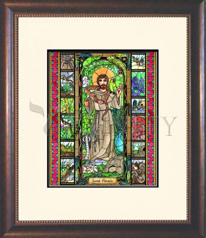 Wall Frame Double Mat Gold - St. Francis - Patron of Exotic Animals by B. Nippert