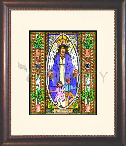 Wall Frame Double Mat Gold - Guardian Angel by B. Nippert