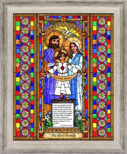 Wall Frame Silver Flat - Holy Family by B. Nippert
