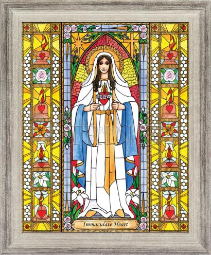 Wall Frame Silver Flat - Immaculate Heart of Mary by B. Nippert