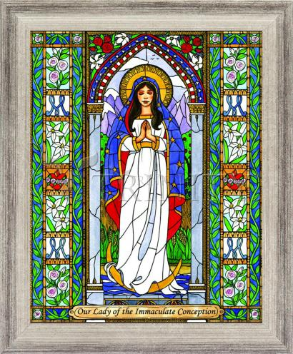 Wall Frame Silver Flat - Our Lady of the Immaculate Conception by B. Nippert