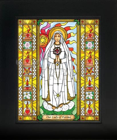 Wall Frame Gold Scoop - Our Lady of Fatima by B. Nippert