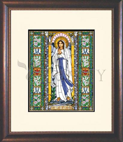 Wall Frame Double Mat Gold - Our Lady of Lourdes by B. Nippert