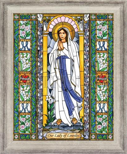 Wall Frame Silver Flat - Our Lady of Lourdes by B. Nippert