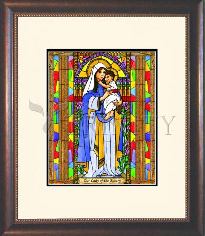 Wall Frame Double Mat Gold - Our Lady of the Rosary by B. Nippert