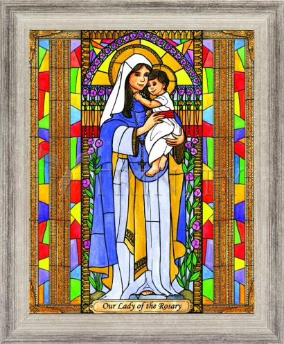Wall Frame Silver Flat - Our Lady of the Rosary by B. Nippert