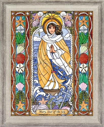 Wall Frame Silver Flat - Our Lady Star of the Sea by B. Nippert