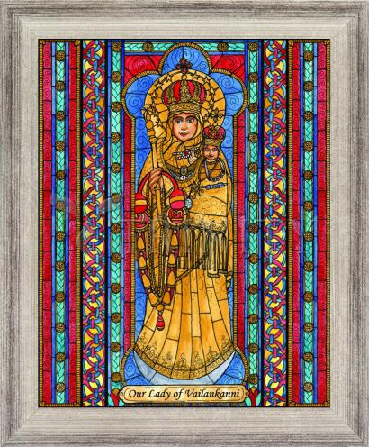 Wall Frame Silver Flat - Our Lady of Vailankanni by B. Nippert