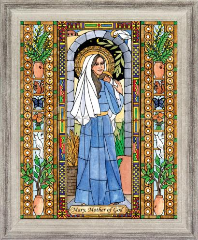 Wall Frame Silver Flat - Mary, Mother of God by B. Nippert