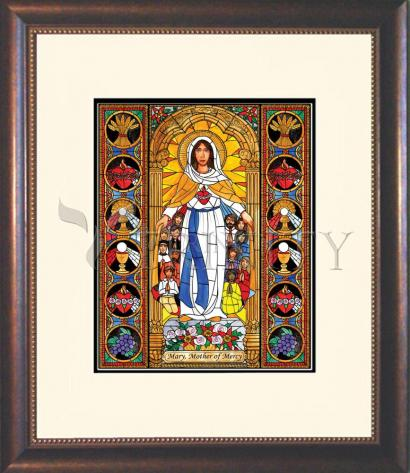 Wall Frame Double Mat Gold - Mary, Mother of Mercy by B. Nippert