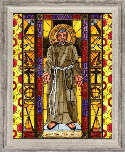 Wall Frame Silver Flat - St. Padre Pio by B. Nippert