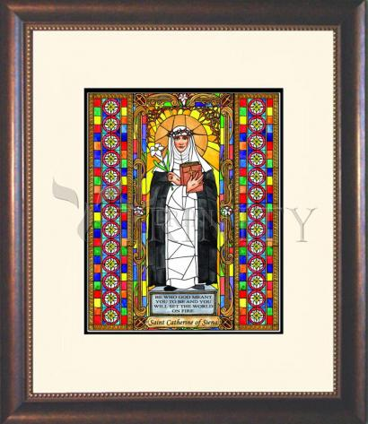 Wall Frame Double Mat Gold - St. Catherine of Siena by B. Nippert