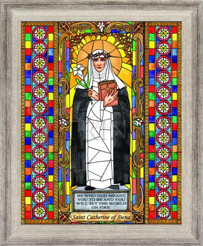 Wall Frame Silver Flat - St. Catherine of Siena by B. Nippert