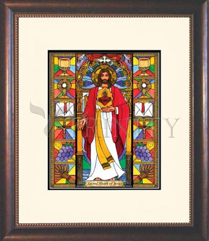 Wall Frame Double Mat Gold - Sacred Heart of Jesus by B. Nippert