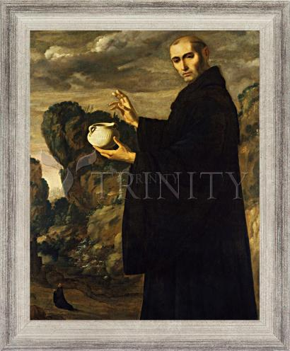 Wall Frame Silver Flat - St. Benedict of Nursia by Museum Art