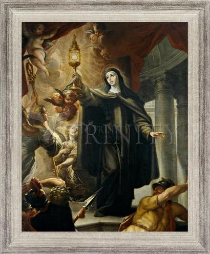 Wall Frame Silver Flat - St. Clare of Assisi Driving Away Infidels with Eucharist by Museum Art