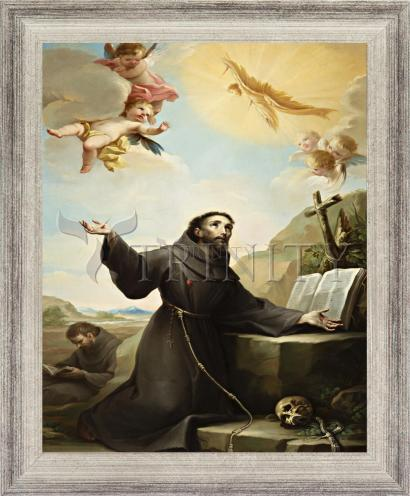 Wall Frame Silver Flat - St. Francis of Assisi Receiving Stigmata by Museum Art