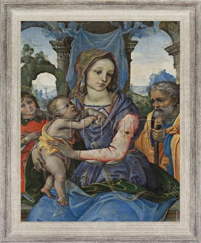 Wall Frame Silver Flat - Madonna and Child with St. Joseph and Angel by Museum Art