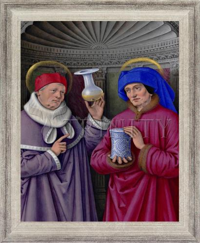 Wall Frame Silver Flat - Sts. Cosmas and Damian by Museum Art