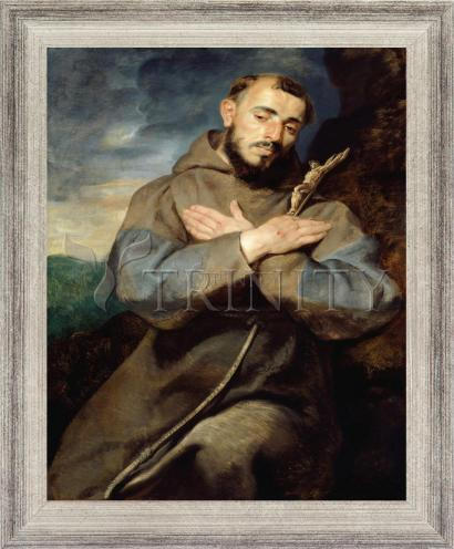 Wall Frame Silver Flat - St. Francis of Assisi by Museum Art