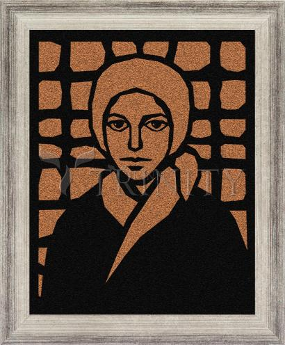 Wall Frame Silver Flat - St. Bernadette of Lourdes - Brown Glass by D. Paulos