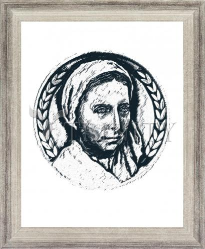 Wall Frame Silver Flat - St. Bernadette of Lourdes - Pen and Ink by D. Paulos