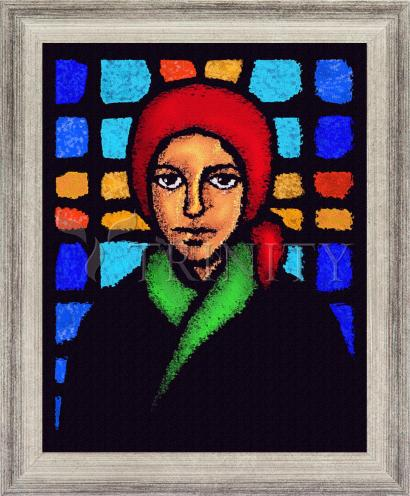 Wall Frame Silver Flat - St. Bernadette of Lourdes - Stained Glass by D. Paulos