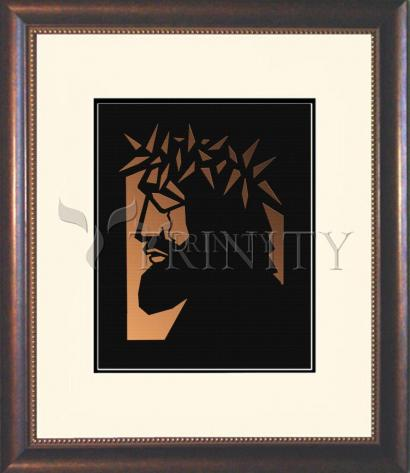 Wall Frame Double Mat Gold - Christ Hailed as King - Brown Glass by D. Paulos