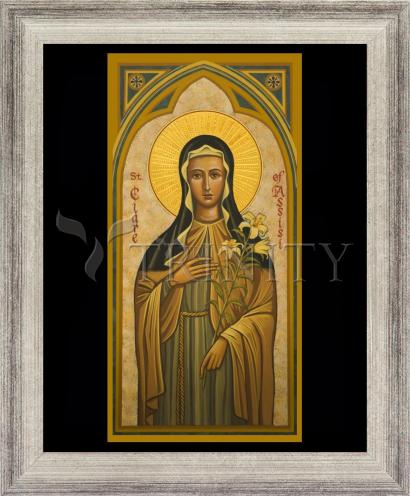 Wall Frame Silver Flat - St. Clare of AssisI by J. Cole