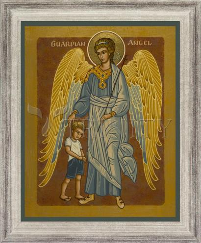 Wall Frame Silver Flat - Guardian Angel with Boy by J. Cole