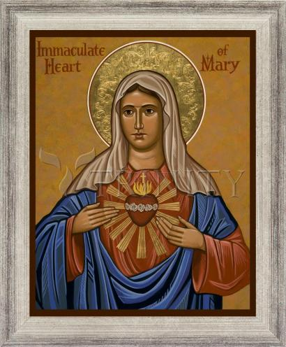 Wall Frame Silver Flat - Immaculate Heart of Mary by J. Cole