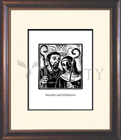 Wall Frame Double Mat Gold - Sts. Benedict and Scholastica by J. Lonneman