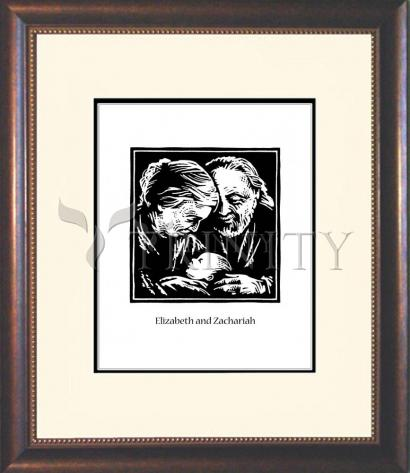 Wall Frame Double Mat Gold - St. Elizabeth and Zachariah by J. Lonneman