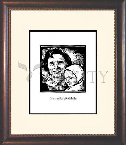Wall Frame Double Mat Gold - St. Gianna Beretta Molla by J. Lonneman