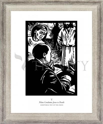 Wall Frame Silver Flat - Scriptural Stations of the Cross 05 - Pilot Condemns Jesus to Death by J. Lonneman