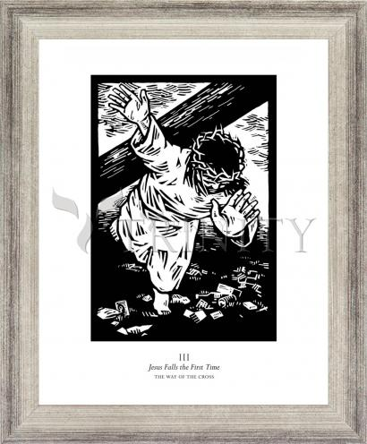 Wall Frame Silver Flat - Traditional Stations of the Cross 03 - Jesus Falls the First Time by J. Lonneman