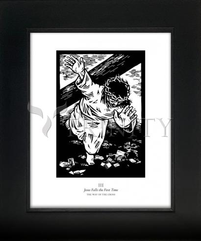 Wall Frame Gold Scoop - Traditional Stations of the Cross 03 - Jesus Falls the First Time by J. Lonneman