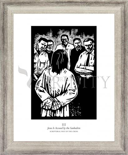 Wall Frame Silver Flat - Scriptural Stations of the Cross 03 - Jesus is Accused by the Sanhedrin by J. Lonneman