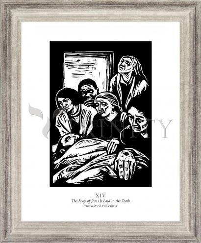 Wall Frame Silver Flat - Traditional Stations of the Cross 14 - The Body of Jesus is Laid in the Tomb by J. Lonneman