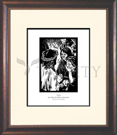 Wall Frame Double Mat Gold - Traditional Stations of the Cross 08 - Jesus Meets the Women of Jerusalem by J. Lonneman