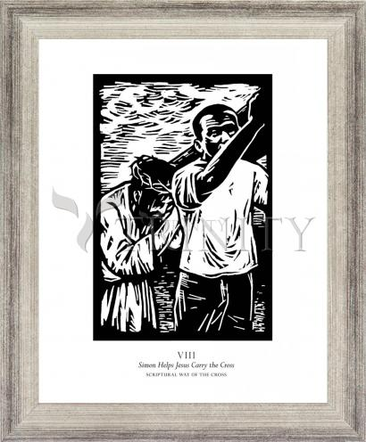 Wall Frame Silver Flat - Scriptural Stations of the Cross 08 - Simon Helps Jesus Carry the Cross by J. Lonneman