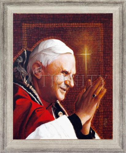 Wall Frame Silver Flat - Pope Benedict XVI by L. Glanzman