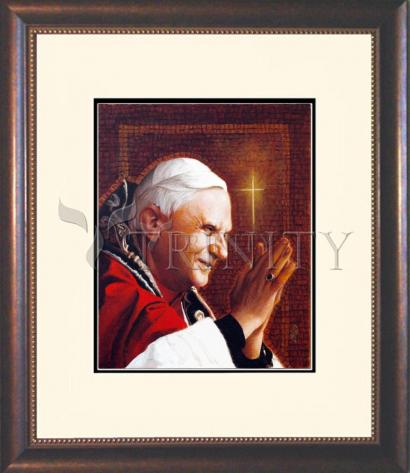 Wall Frame Double Mat Gold - Pope Benedict XVI by L. Glanzman