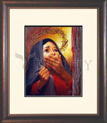 Wall Frame Double Mat Gold - Mary at the Cross by L. Glanzman