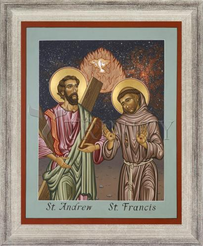 Wall Frame Silver Flat - Sts. Andrew and Francis of Assisi by L. Williams