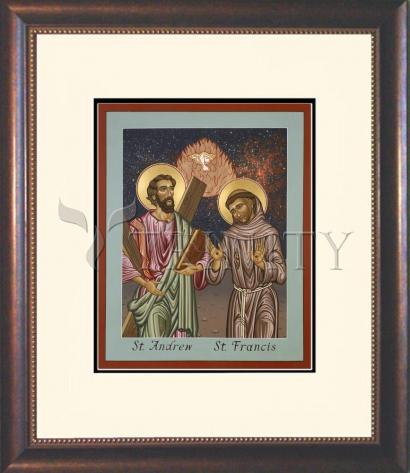 Wall Frame Double Mat Gold - Sts. Andrew and Francis of Assisi by L. Williams