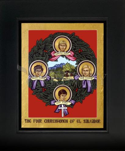 Wall Frame Gold Scoop - Four Church Women of El Salvador by L. Williams